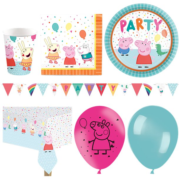 Peppa Deluxe Party Kit For 8 New Room Banner  Pink N Blue Balloons